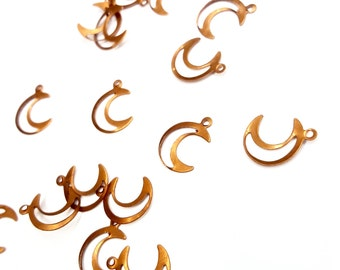 50 Pieces Cut out Crescent Moon Charms, Celestial, Vintage, 15x11mm
