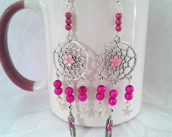 Earrings fuchsia - D33 dreamcatchers