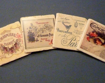 Drink coasters - Stone Coasters - French Perfume ads - Marble Coasters - Travertine coasters -Vintage Cosmopolitan Cover - French Coasters