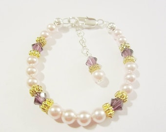 Toddler/Newborn baby girls/ Childrens sterling silver filled crystal and pearl birthstone bracelet