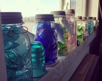 Colored Glass in Vintage jars/ Desert Glass in a jar/ Colored Glass Decoration/ Vintage Mason Jars/ Ball Jar