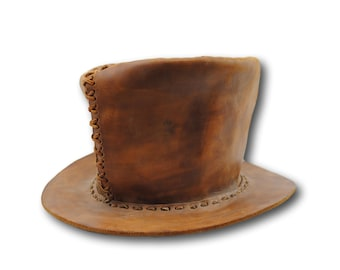 Vintage Handmade Steampunk Goth Victorian Dead Man Deluxe Brown Leather Top Hat