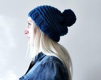 Blue pompom hat- handmade beanie- pompom beanie- pom pom beanie- dark blue winter beanie- knit hat- skull cap beanie- hand knit blue beanie