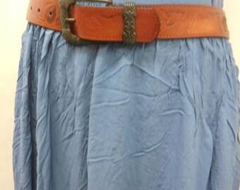 Vintage Hand Painted Brown Embossed Genuine Leather Belt Size S/M