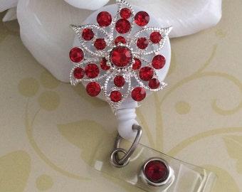 Red Rhinestones Crystal Flower Bling Retractable ID Badge Reel