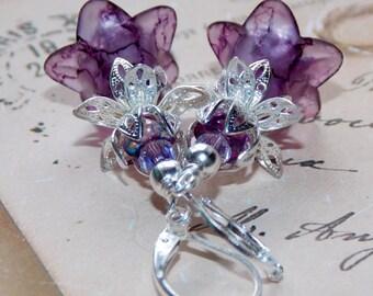 Flower Earrings, 'Sour Grapes', Victorian Earrings, Boho Earrings, Drop Earrings, Filigree Silver, Hand Painted Earrings, Purple Flowers