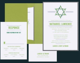 5x7 Marbled Green & Blue Mitzvah Invitation - Includes Envelope Liner, RSVP and Address Printing