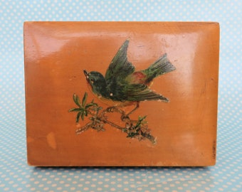 Vintage small wooden box with original decoupaged bird