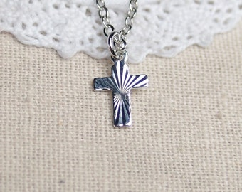 tiny cross necklace, sterling silver filled, silver cross pendant, catholic gift, communion gift, confirmation gift, simple silver necklace