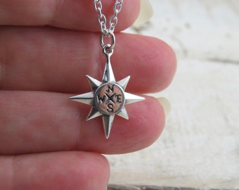 Sterling silver compass necklace, North Star necklace, North star compass necklace, travel necklace, find your true north, journey