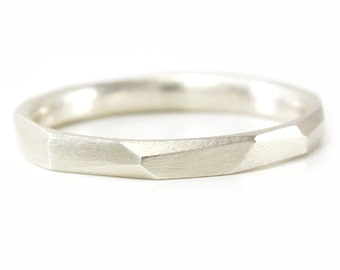 Silver Stacking Ring Thin Faceted Stacking Ring Silver Ring