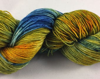 hand dyed sock yarn, colorway PEACOCK, superwash merno wool and nylon, fingering weight yarn