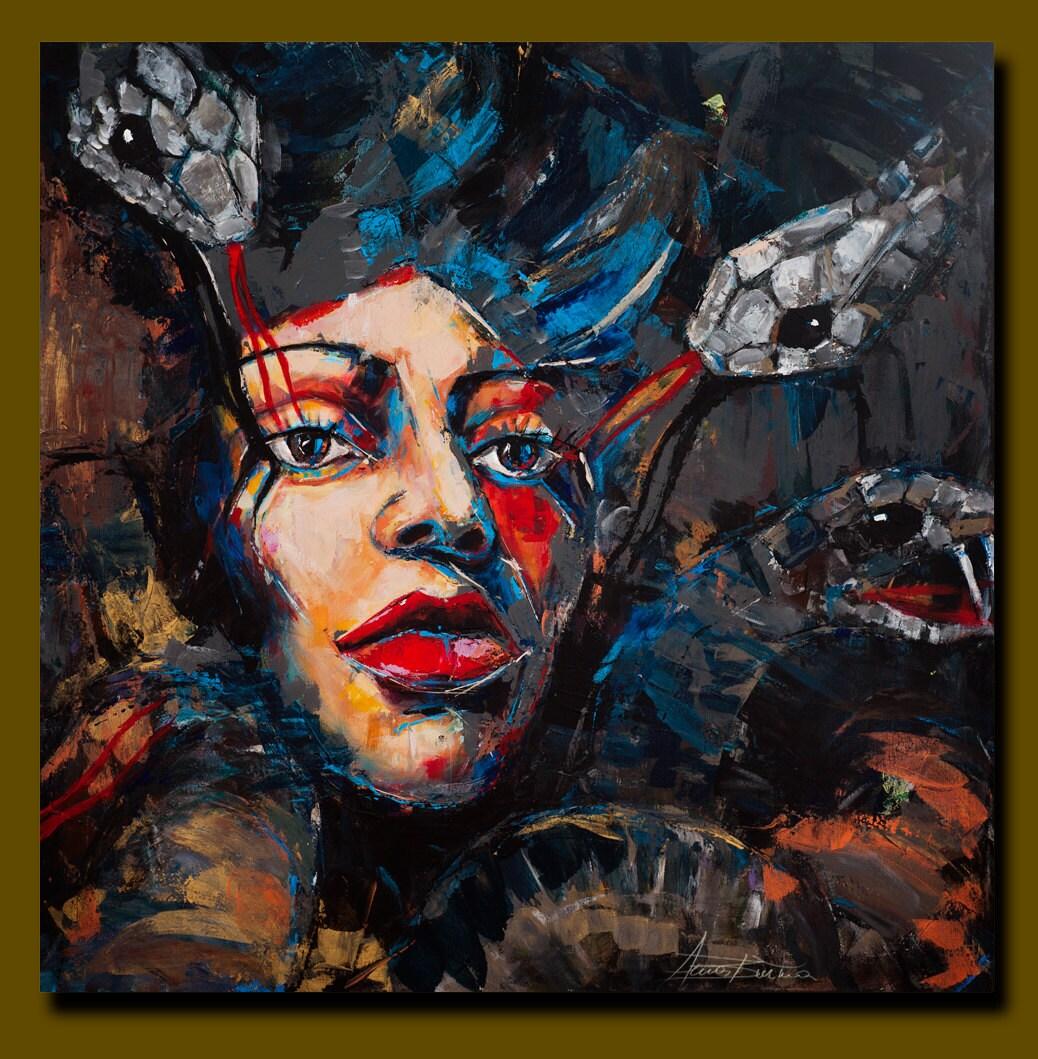 FINE Art PAINTING Portrait Acrylic On Canvas Modern Textured