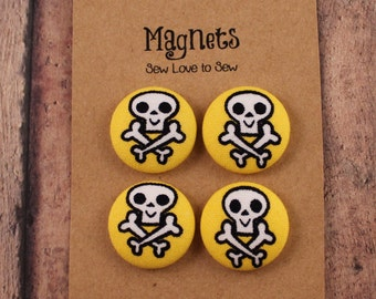 Fabric Covered Button Magnets / Happy Skulls Magnets / Skeleton Magnets / Skull Magnets / Strong Magnets / Refridgerator Magnets