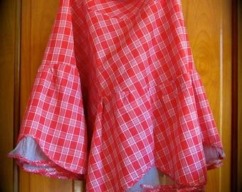 Taffeta Ruffle Slip,  Red Plaid Taffeta Petticoat, 40s 50s taffeta slip,  Can Can crinoline, Costume Ruffle Petticoat, Rockabilliy Crinoline