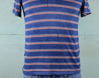 Paper thin 1980's LEVIS Polo t-shirt / Stripes, Striped / Holes / Distressed / Fits like a Small