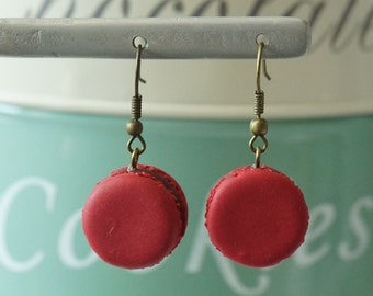 Earrings red raspberry french macaron with chocolate in polymer clay (fimo)