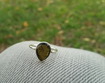 Green Tourmaline Ring - Handmade & Silver