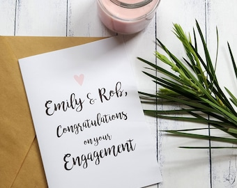 Congratulations on your Engagement card | Personalised Engagement Card | Romantic Card | Card for the Happy Couple