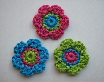 Lot of 3 flowers Crochet Flower Appliques (Pink, Turquoise, green)