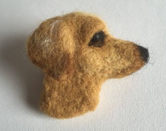 Needle Felted LABRADOR RETRIEVER dog brooch pin badge
