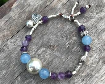 Pisces Goddess Bracelet - Karen Hill Tribe Silver - Aquamarine Beads - Amethyst Beads