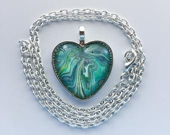 Teal Heart Pendant Necklace, Poured Acrylic, Wearable Art, Heart Pendant, Glass Cabochon, Green Heart, OOAK 127 Silver Heart