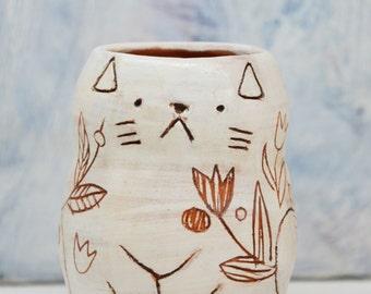 Cat Pen Holder/ Car Cup/ Ceramic Pencil Holder/ Cat Makeup Brushes Holder/ Animal Pen Holder/ Flower Cat/ Ceramic Desk Organizer