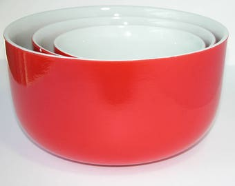 Vintage Red Hall's Three Bowl Nested Mixing Set