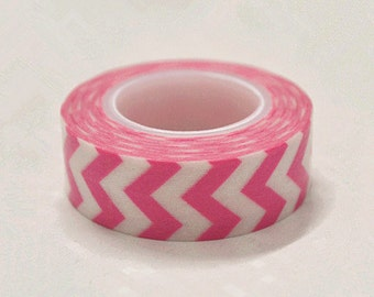 Japanese Washi Tape Rice Paper Tape Masking Tape - Pink and White Chevron 10m