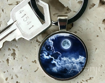 Moon and clouds keychain, key chain, key ring, key fob, night clouds keychain, moon key chain, gift, moon, gift idea, keychain #SP102K