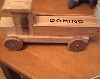 "Folk Art Primitive Wood Truck /Domino Case Crafted by CARL KOROKNAY ,Camarillo CA 4-1/2"" X10'"