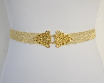 Gold elastic waist belt. Gold filigree buckle. Bridal /Bridesmaid elastic waist belt.
