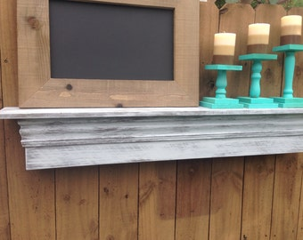 Mantle Shelf, Rustic Mantle Shelf, Floating Shelf, Distressed Rustic White