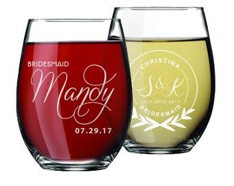 Custom Stemless Wine Glasses, Personalized Wine Glasses, Bridesmaid Gift, Bridesmaid Wine Glasses, Etched Wine Glasses, Custom Wine Glasses