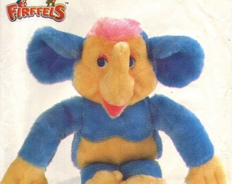 "Simplicity 7204 Firffels  ELEPHONKEY 11"" Part Elephant & Monkey Stuffed Toy Animal Sewing Pattern  ©1985"