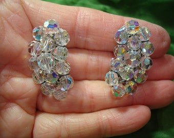 1960s Sparkling Rainbow Colored Crystal Beaded Clip On earrings.