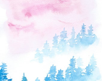 Misty Trees Painting, Original Watercolor Landscape Painting, Watercolor Mountains, Abstract Art, Watercolor Painting, Small Original Art A5
