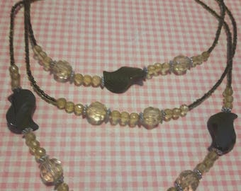 Green triple-strand necklace