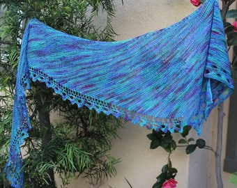 Blue Green and Purple Dendron Variegated Asymmetrical Lace Edged Merino Wool Shawl or Scarf