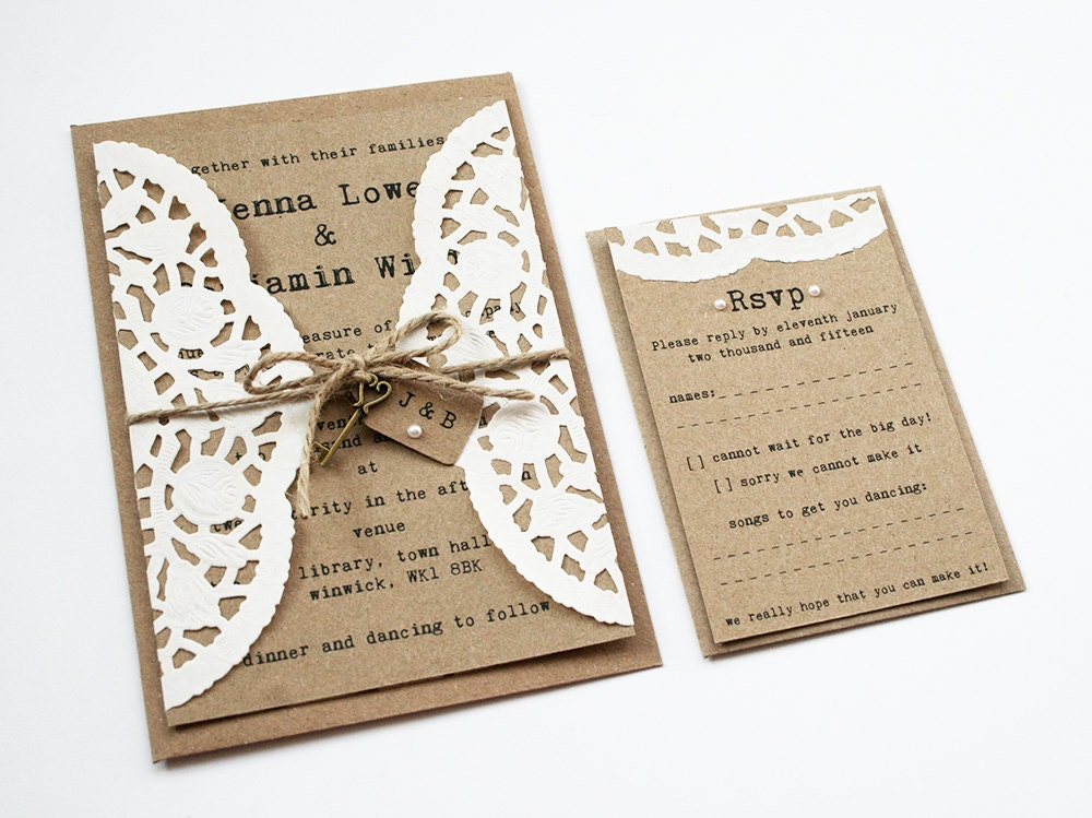 Doily Kraft Wedding Invitation Set Rustic Wedding