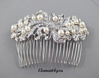 Bridal hair accessories, Bridal Comb, Rhinestone Comb, Bridal Comb Crystal, Wedding Hair Comb Swarovski pearls Ivory White Wedding Accessory