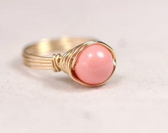 Gold Pink Coral Ring Wire Wrapped Jewelry Gold Ring Gold Jewelry Pink Ring Pink Coral Jewelry Swarovski Pearl Ring Swarovski Jewelry