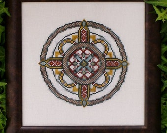 "Cross Stitch Instant Download Pattern ""Pompeian Rosette"" Counted Embroidery Chart. Geometric Ornamental Design. Mini Mandala.  X Stitch."