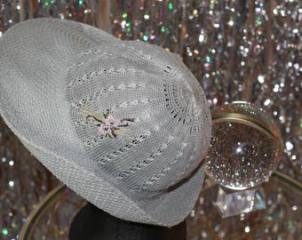 1980's Light Blue Net Fedora Sale Hat with Floral Embroider Hat