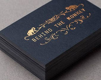 100 Business Cards - black 14PT matte stock - copper/bronze/rose gold metallic foil
