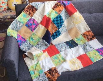 Stunning Vintage Handmade Patchwork Baby Blanket- Vintage Flower Power Fabrics- Mod Flower