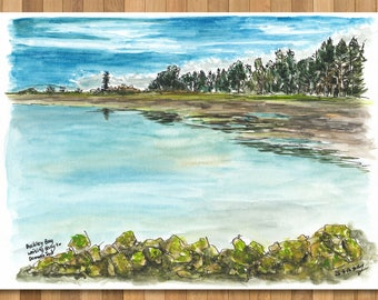 Watercolour Painting of Buckley Bay, Vancouver Island, BC, Canada
