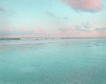 Beach Art Print - Vintage Blue Pink Surf Sky Sunset Beach House Home Decor Wall Art Photograph