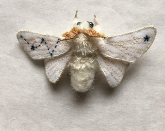 Embroidered Moth Brooch/ Cassiopeia